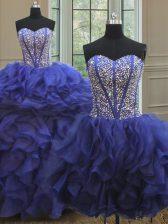 Three Piece Ball Gowns Vestidos de Quinceanera Royal Blue Sweetheart Organza Sleeveless Floor Length Lace Up