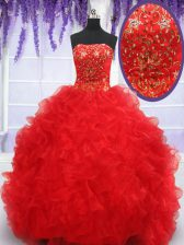 Organza Strapless Sleeveless Lace Up Beading and Embroidery and Ruffles Vestidos de Quinceanera in Red