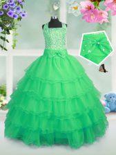 Square Sleeveless Organza Little Girls Pageant Dress Beading and Ruffled Layers Zipper