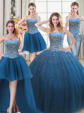 High Quality Four Piece Teal Sleeveless Tulle Lace Up Quinceanera Gown for Military Ball and Sweet 16 and Quinceanera