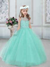 Classical Bateau Sleeveless Tulle Little Girl Pageant Dress Beading Lace Up