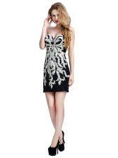 Noble Column/Sheath Prom Dress White And Black Sweetheart Tulle Sleeveless Mini Length Zipper