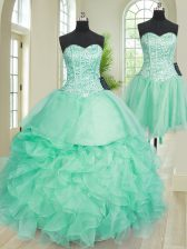 Three Piece Turquoise Sleeveless Organza Lace Up Quince Ball Gowns for Military Ball and Sweet 16 and Quinceanera