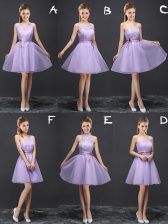 Lavender Quinceanera Dama Dress Prom and Party and Wedding Party with Lace and Appliques and Belt V-neck Sleeveless Lace Up