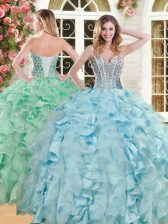 Suitable Light Blue Organza and Taffeta Lace Up Quinceanera Gowns Sleeveless Floor Length Beading and Ruffles