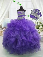 Floor Length Eggplant Purple Child Pageant Dress Sweetheart Sleeveless Lace Up