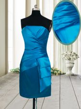 Elegant Sleeveless Satin Mini Length Lace Up in Teal with Ruching