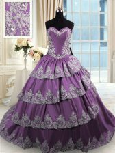 Fashion Beading and Appliques and Ruffled Layers Sweet 16 Dress Purple Lace Up Sleeveless With Train