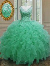 V-neck Sleeveless Sweet 16 Dresses Floor Length Beading and Ruffles Apple Green Organza