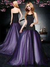 Tulle Sleeveless With Train Dress for Prom Brush Train and Ruching