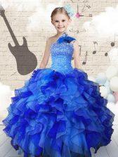Strapless Sleeveless Little Girl Pageant Dress Floor Length Beading and Ruffles Navy Blue Organza