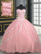 Pretty Sweetheart Sleeveless Tulle Ball Gown Prom Dress Beading and Appliques Brush Train Lace Up