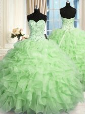 Inexpensive Beading and Ruffles Sweet 16 Dress Lace Up Sleeveless Floor Length