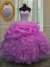 Fine Lilac Sleeveless Floor Length Beading and Ruffles and Pick Ups Lace Up Ball Gown Prom Dress