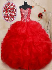 Red Ball Gowns Organza Sweetheart Sleeveless Beading and Ruffles Floor Length Lace Up Quince Ball Gowns
