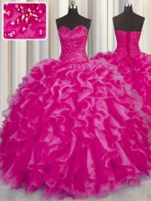 Romantic Hot Pink Organza Lace Up Sweet 16 Quinceanera Dress Sleeveless Floor Length Beading and Ruffles