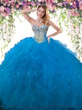 Sweetheart Sleeveless Lace Up Sweet 16 Dress Blue Tulle