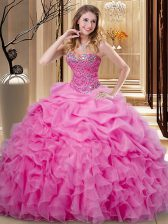 High Quality Pick Ups Ball Gowns Quinceanera Dresses Rose Pink Sweetheart Organza Sleeveless Floor Length Lace Up