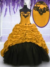 Fitting Gold Sleeveless Sweep Train Appliques and Pick Ups 15 Quinceanera Dress