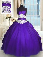 Amazing Purple Lace Up Sweetheart Beading and Lace and Appliques and Ruching and Pick Ups Vestidos de Quinceanera Taffeta and Tulle Sleeveless