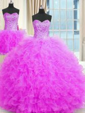 Latest Three Piece Lilac Tulle Lace Up Strapless Sleeveless Floor Length Quinceanera Gown Beading and Ruffles