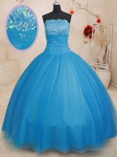 Stunning Baby Blue Ball Gowns Beading Sweet 16 Quinceanera Dress Lace Up Tulle Sleeveless Floor Length