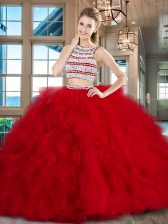 Enchanting Scoop Red Sleeveless With Train Beading and Ruffles Backless Quince Ball Gowns