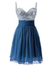 Simple Knee Length Column/Sheath Sleeveless Navy Blue Prom Evening Gown Zipper