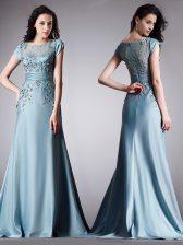 Flare Scoop Cap Sleeves Zipper Floor Length Appliques Prom Dress