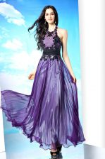 Custom Made Purple Halter Top Neckline Lace Dress for Prom Sleeveless Zipper
