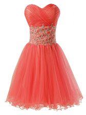 Best Sweetheart Sleeveless Organza Prom Dresses Beading Zipper