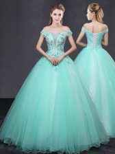 Off the Shoulder Sleeveless Appliques Lace Up Quinceanera Gowns