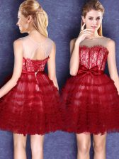 Sumptuous Scoop Mini Length Lace Up Quinceanera Court Dresses Wine Red for Prom and Party and Wedding Party with Lace and Bowknot