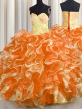 Fabulous Multi-color Sleeveless Organza Lace Up Vestidos de Quinceanera for Military Ball and Sweet 16 and Quinceanera