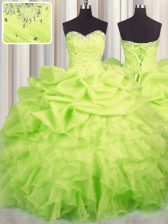 Low Price Yellow Green Lace Up Sweetheart Beading and Ruffles and Ruching and Pick Ups Quinceanera Dress Organza Sleeveless