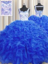 Stunning Floor Length Royal Blue Sweet 16 Quinceanera Dress Organza Sleeveless Beading
