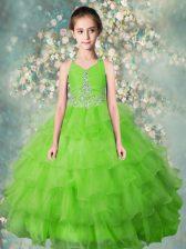 Halter Top Beading and Ruffled Layers Little Girls Pageant Dress Apple Green Zipper Sleeveless Floor Length