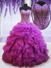 Spectacular Eggplant Purple Organza Lace Up 15 Quinceanera Dress Sleeveless Floor Length Beading and Ruffles