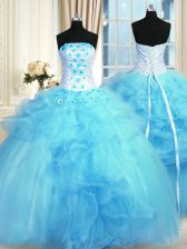 Adorable Baby Blue Ball Gowns Tulle Strapless Sleeveless Pick Ups and Hand Made Flower Floor Length Lace Up Sweet 16 Dresses