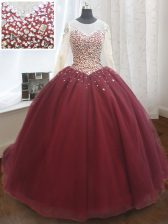Vintage Wine Red Quinceanera Gowns Military Ball and Sweet 16 and Quinceanera with Beading and Sequins Scoop Long Sleeves Court Train Lace Up
