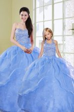Cheap Floor Length Lace Up Sweet 16 Dresses Light Blue for Military Ball and Sweet 16 and Quinceanera with Beading