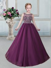 Burgundy Scoop Neckline Beading Little Girls Pageant Dress Wholesale Sleeveless Lace Up