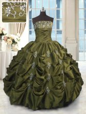 Strapless Sleeveless Taffeta Quince Ball Gowns Beading and Appliques and Embroidery and Pick Ups Lace Up