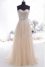 Sweetheart Sleeveless Sweep Train Beading and Belt Champagne Organza