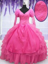 Romantic V-neck Long Sleeves Organza 15th Birthday Dress Beading and Embroidery and Hand Made Flower Lace Up