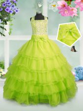 Apple Green Ball Gowns Beading and Ruffled Layers Kids Pageant Dress Zipper Organza Sleeveless Floor Length