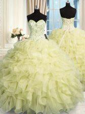 Exquisite Sweetheart Sleeveless Lace Up Vestidos de Quinceanera Yellow Organza