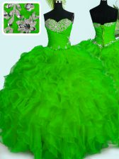Fine Organza Sleeveless Floor Length Quince Ball Gowns and Beading and Ruffles