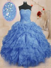 Strapless Sleeveless Quinceanera Gown Floor Length Beading and Ruffles and Ruching Blue Organza