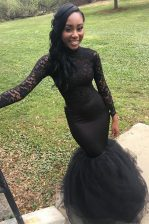 High Class Mermaid Black Zipper High-neck Lace Homecoming Dress Elastic Woven Satin Long Sleeves